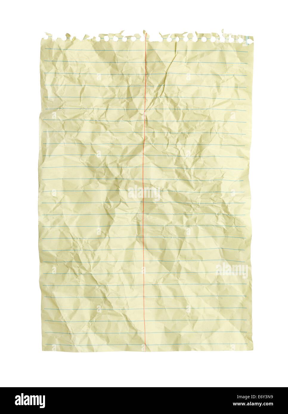 Zerknitterte gelbe Spirale Notebook Linie Papier isoliert auf weißem ...