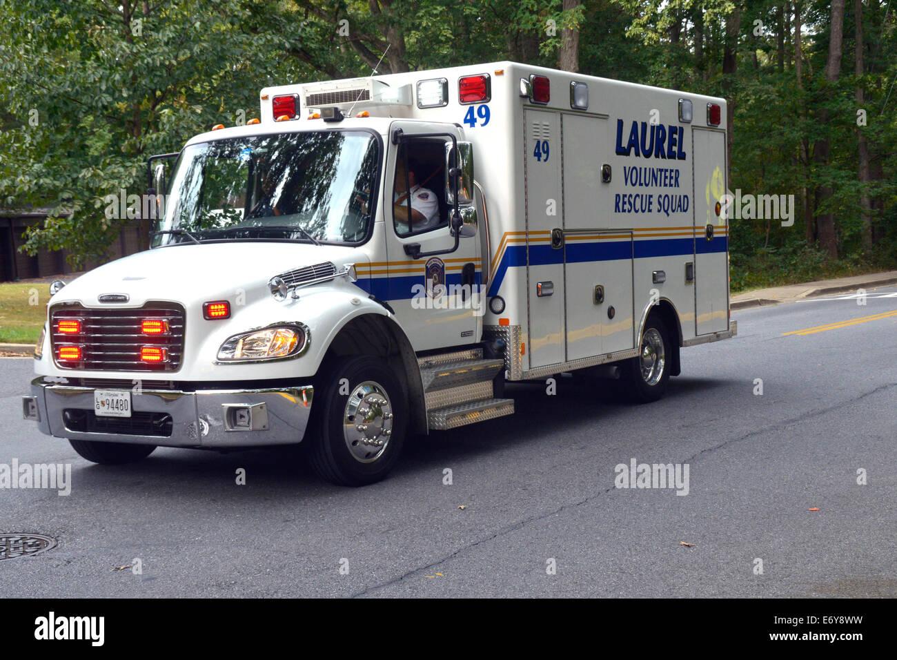 Laurel ehrenamtlich Rescie Squad Krankenwagen Stockbild