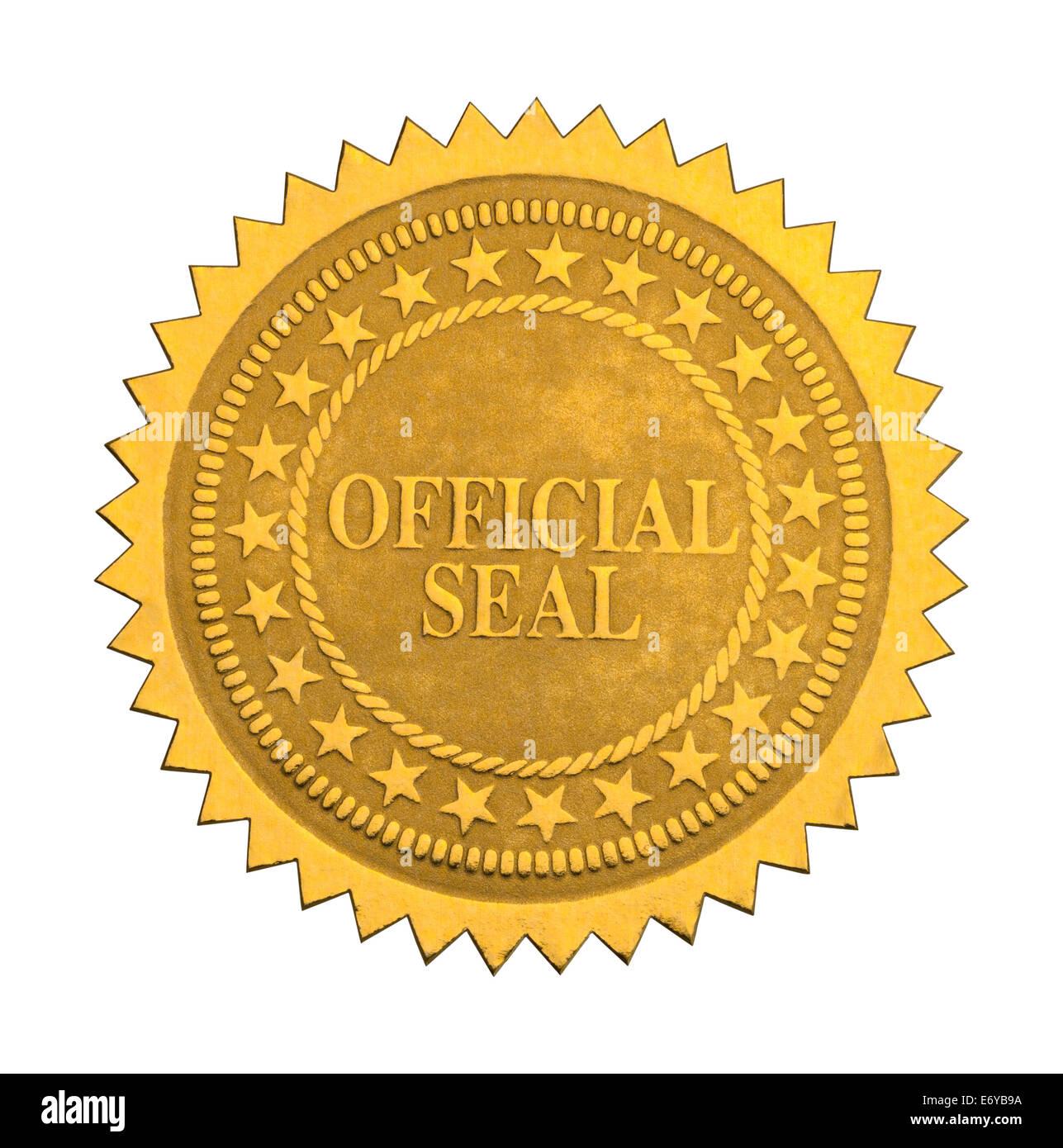 Reich verzierte Gold Siegel mit Sternen, Isolated on White Background. Stockbild