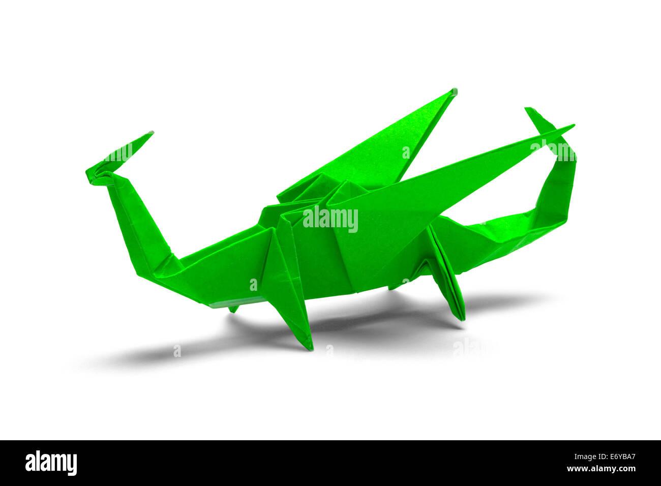 Grünes Papier Origami-Drachen, Isolated on White Background. Stockbild