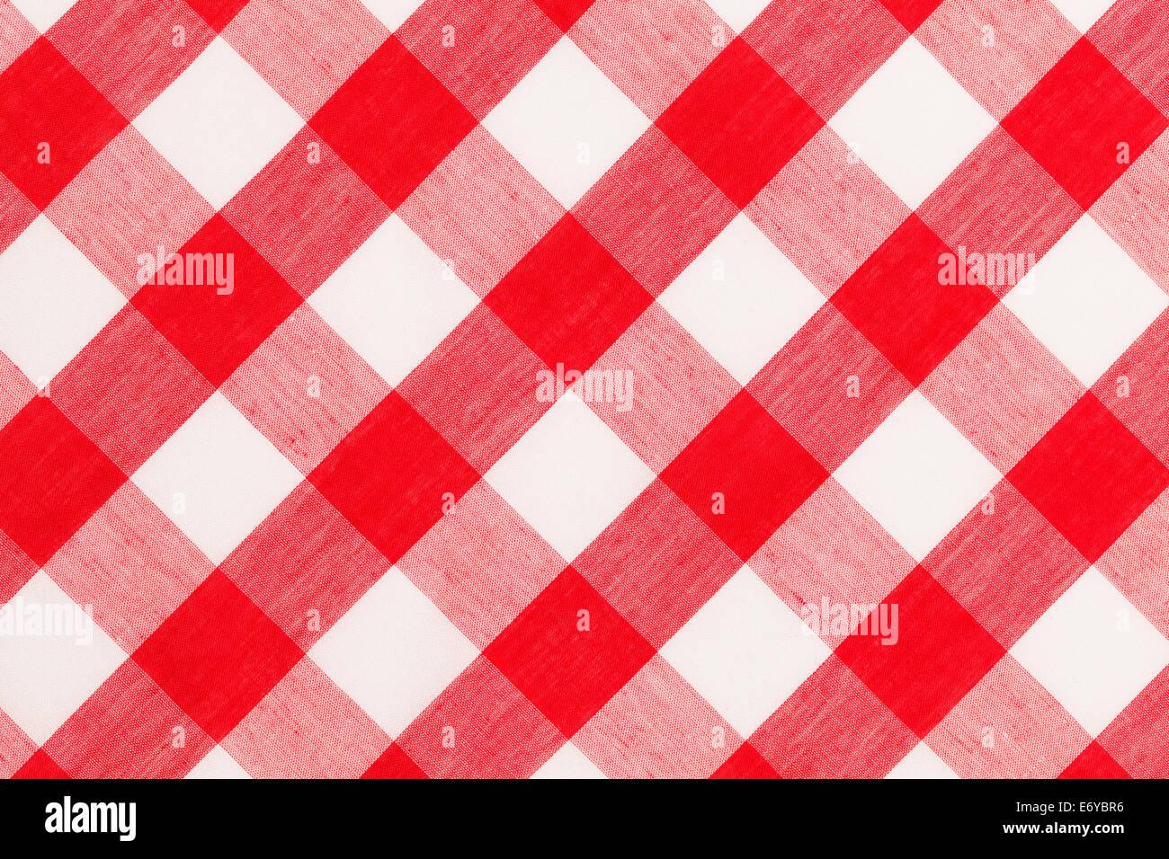 Große rot-weiß karierte Tuch Tabellenhintergrund. Stockbild