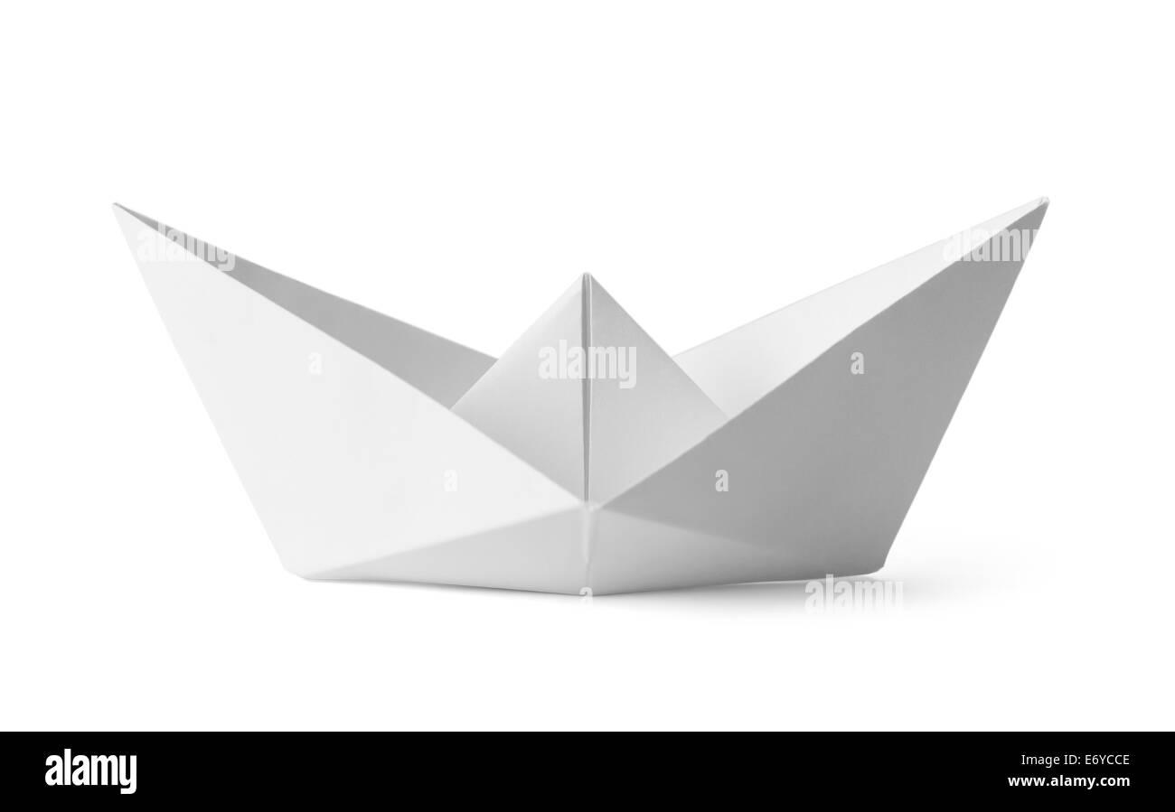Origami White Paper Boat Isolated on White Background. Stockbild