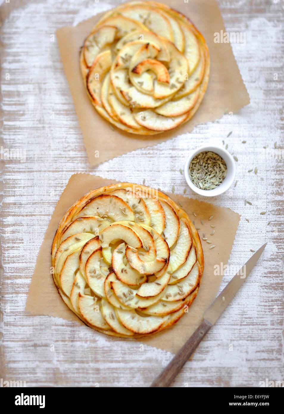 Apfel und Anis dünn Gebäck Torten Stockbild