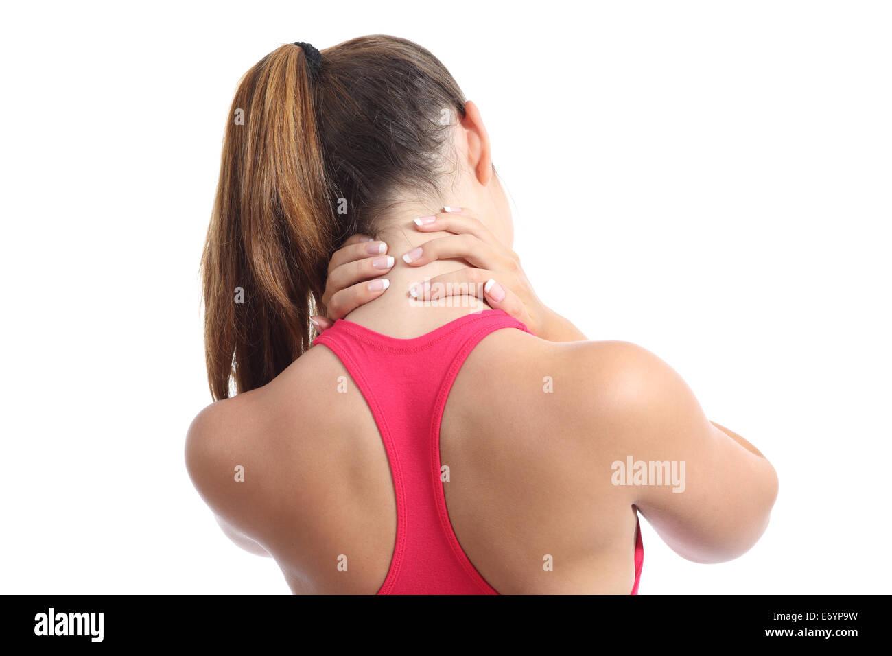 Rückansicht einer Fitness-Frau mit Nackenschmerzen isoliert auf weißem Hintergrund Stockbild