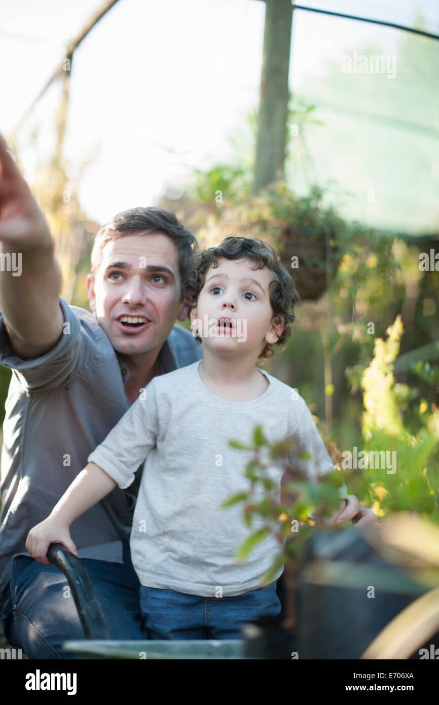 Mitte erwachsener Mann und Sohn suchen überrascht im Garten Stockfoto