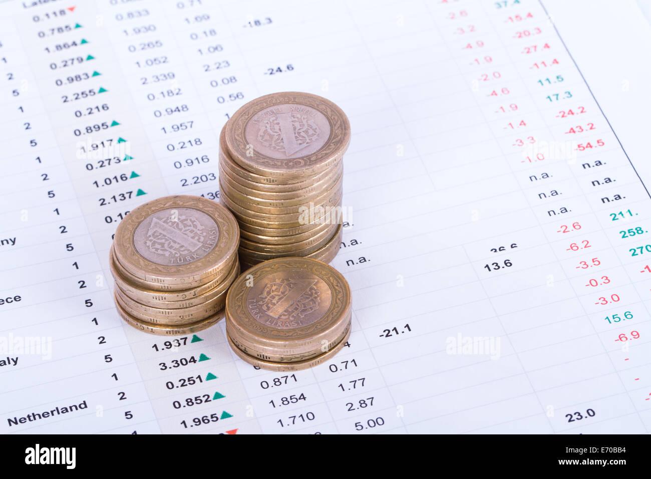 Münzen auf der Analyse von Finanzdaten. Stockbild