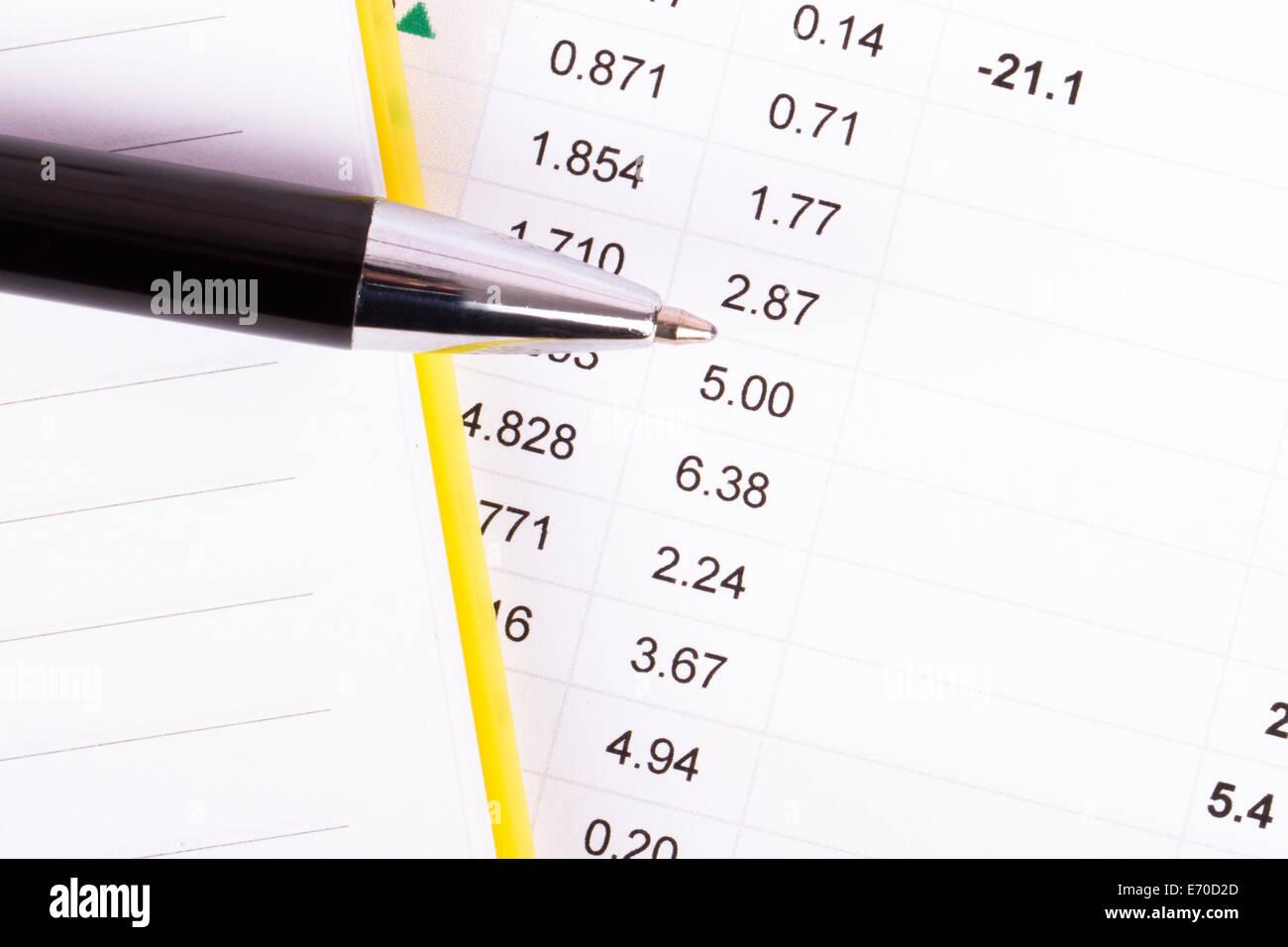 Finanzdaten Analyse mit Notizbuch und Stift, Ansicht von oben. Stockbild