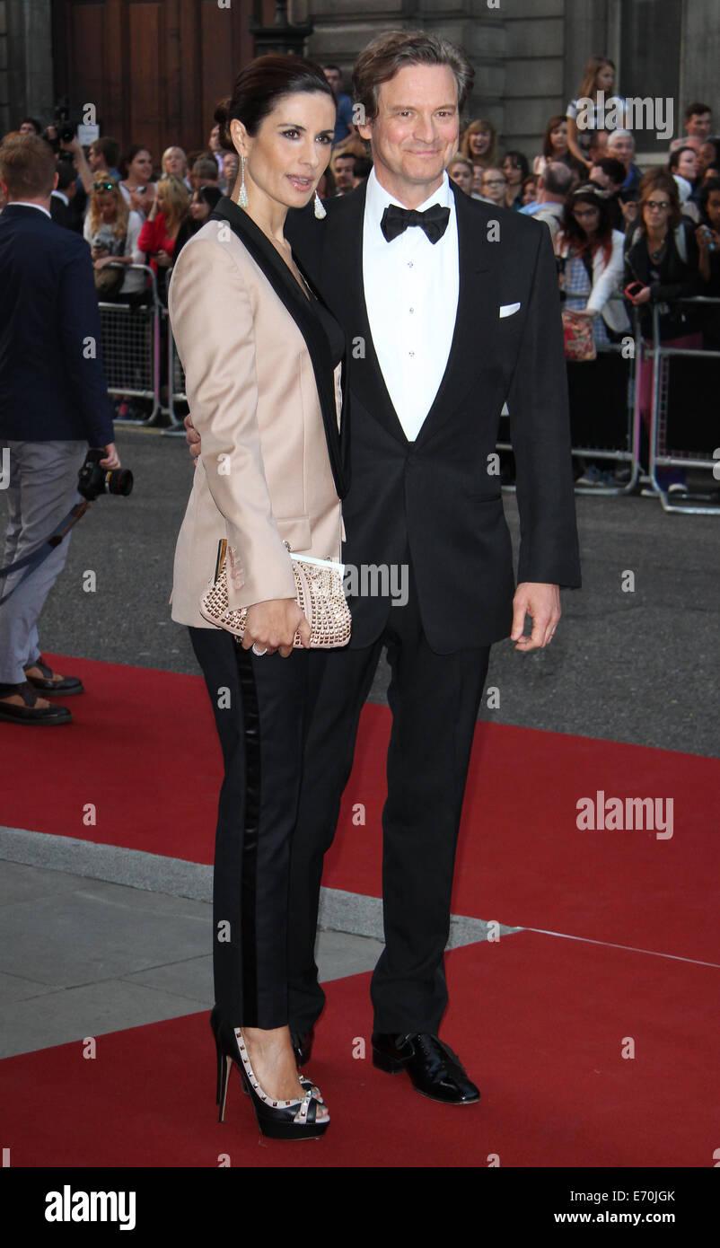 London, UK, 2. September 2014: Colin Firth und Livia Firth besuchen die GQ Men of the Year Award am Royal Opera Stockbild