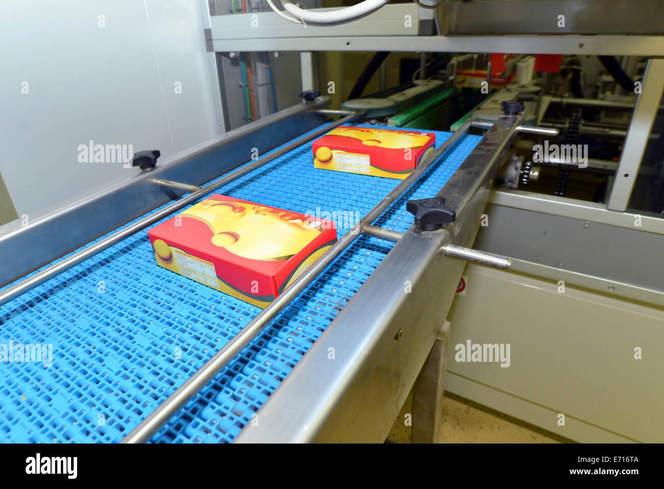 Deutschland, Sachsen-Anhalt, Boxen auf einer Fertigungslinie in der Backwarenindustrie Stockbild