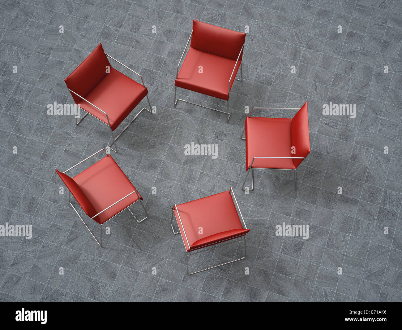 3D-Rendering, fünf rote Stühle in einem Kreis Stockbild