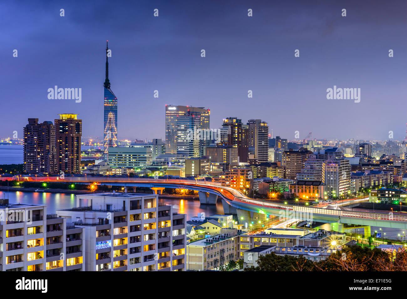 Skyline der Innenstadt Stadt Fukuoka, Japan. Stockbild