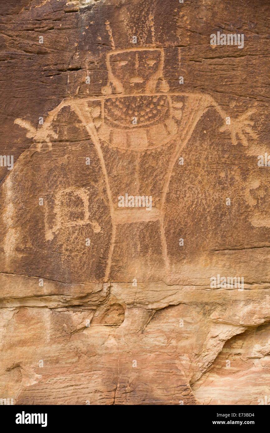 Dry Fork Canyon Rock Art, befindet sich auf McConkie Ranch, Fremont Stil aus AD 700 bis 1200 n. Chr., in der Nähe Stockfoto