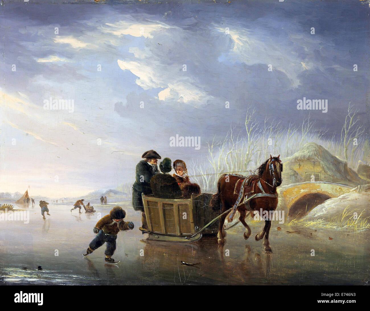 Schlitten-Rennen auf dem Eis - von Andries Vermeulen, 1790-1814 Stockbild