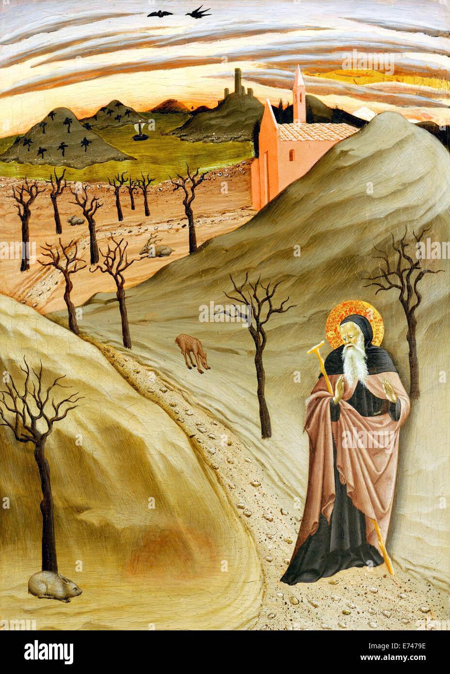 Antonius, der Abt in der Wüste - durch Osservanza Master, 1435 Stockbild