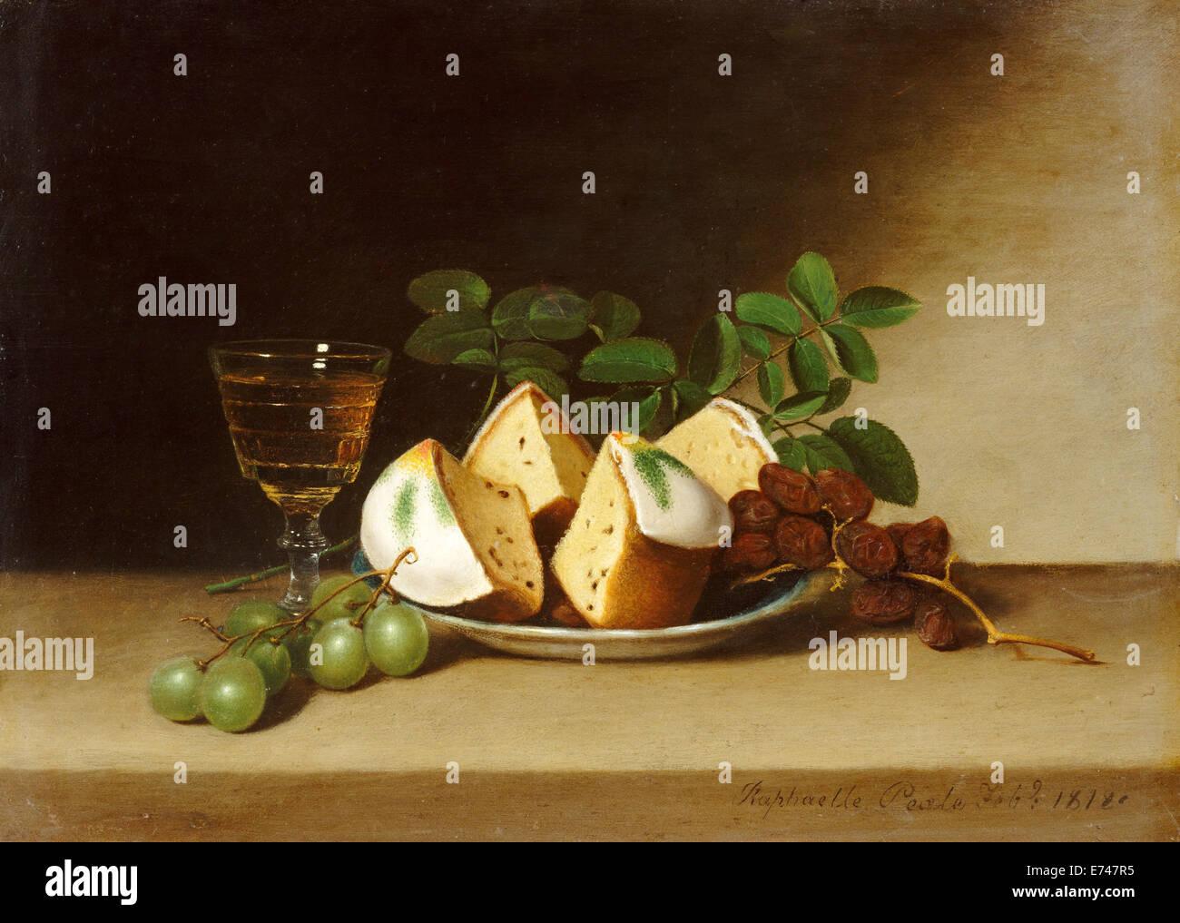 Stillleben mit Kuchen - von Raphaelle Peale, 1818 Stockbild