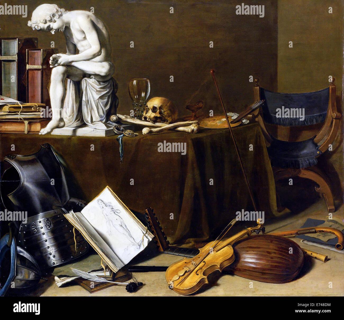 Stillleben mit Spinario - von Pieter Claesz, 1628 Stockbild