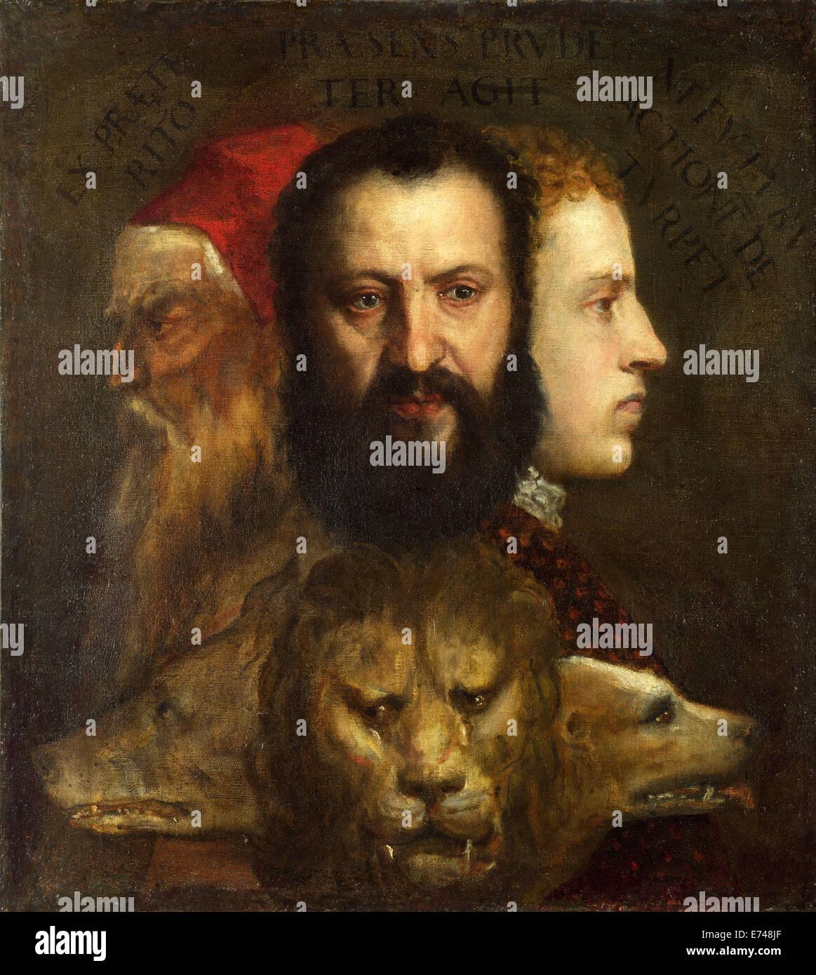 Die Allegorie der Alter unterliegt Klugheit - von Tizian, 1565-1570 Stockbild
