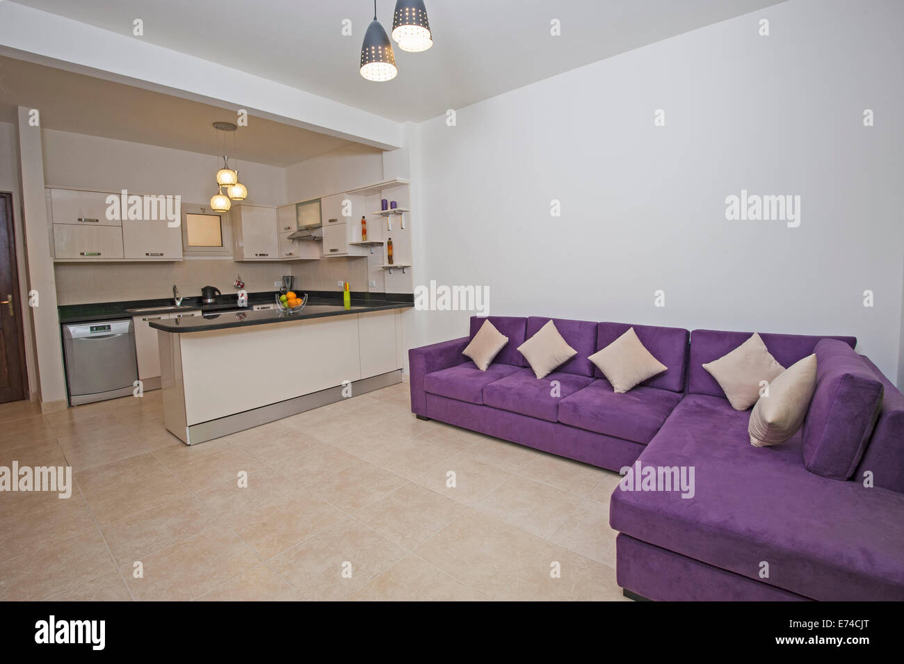 Interior Design des Luxus Wohnung Wohnzimmer mit amerikanischer ...