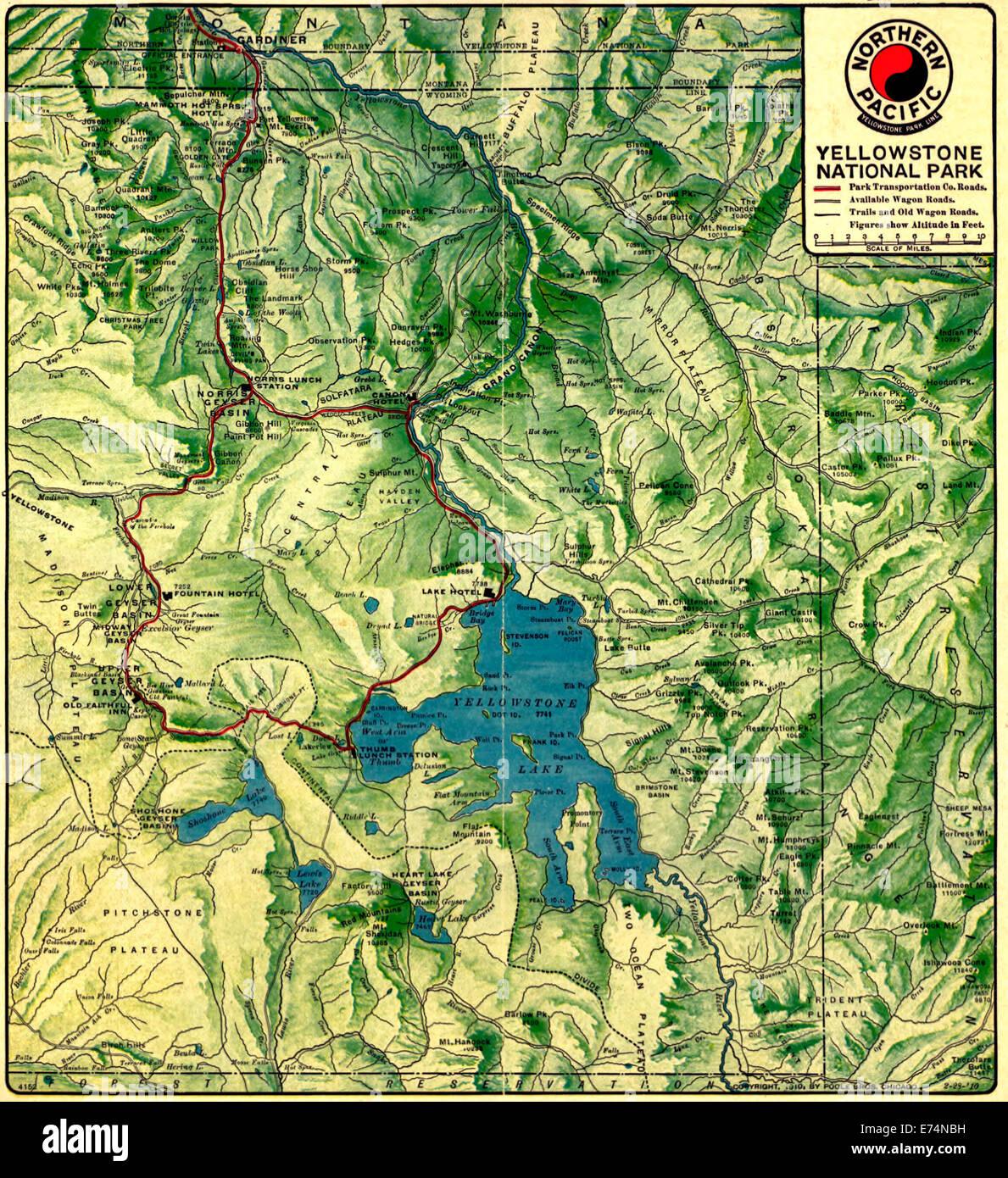 Yellowstone Karte.Karte Von Yellowstone Nationalpark Wyoming 1910 Stockfoto Bild