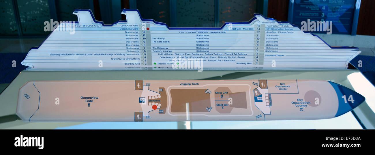 Schematischer Plan und Höhe Blick auf Kreuzfahrtschiff deck Layout ...