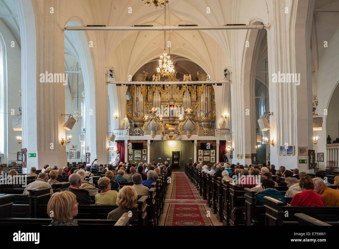 Neue Hauptorgel in Königsberg Kathedrale, erbaut im Jahre 2008 durch Orgelbauer Alexander Schuke Moskovskij Stockbild