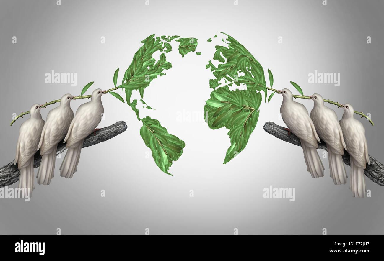 Globale Beziehungen Konzept als eine Gruppe von weißen Friedens Tauben halten Olivenzweige zusammen aus Ost Stockbild
