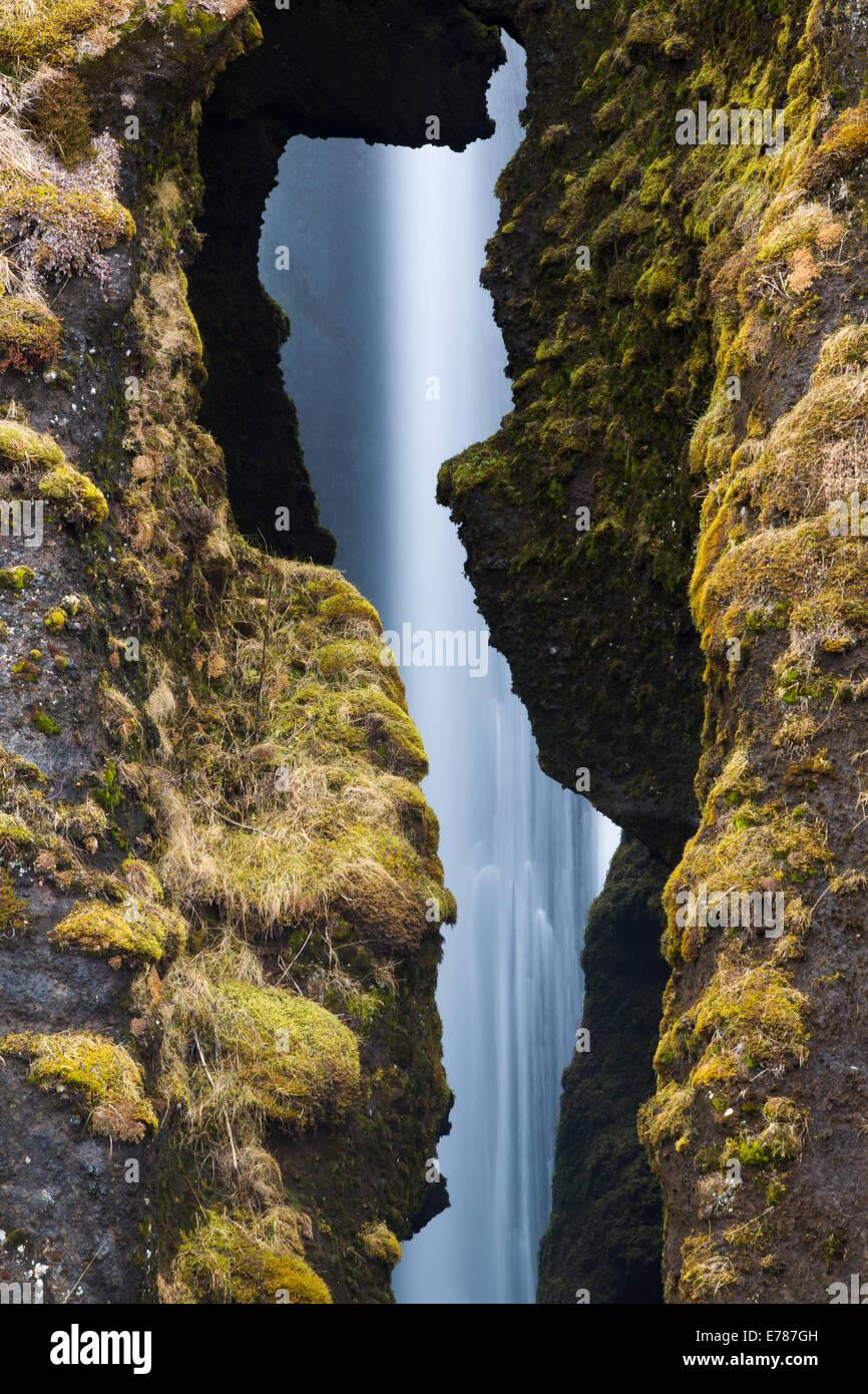 Gljúfurárfoss Wasserfall, Süden Islands Stockbild