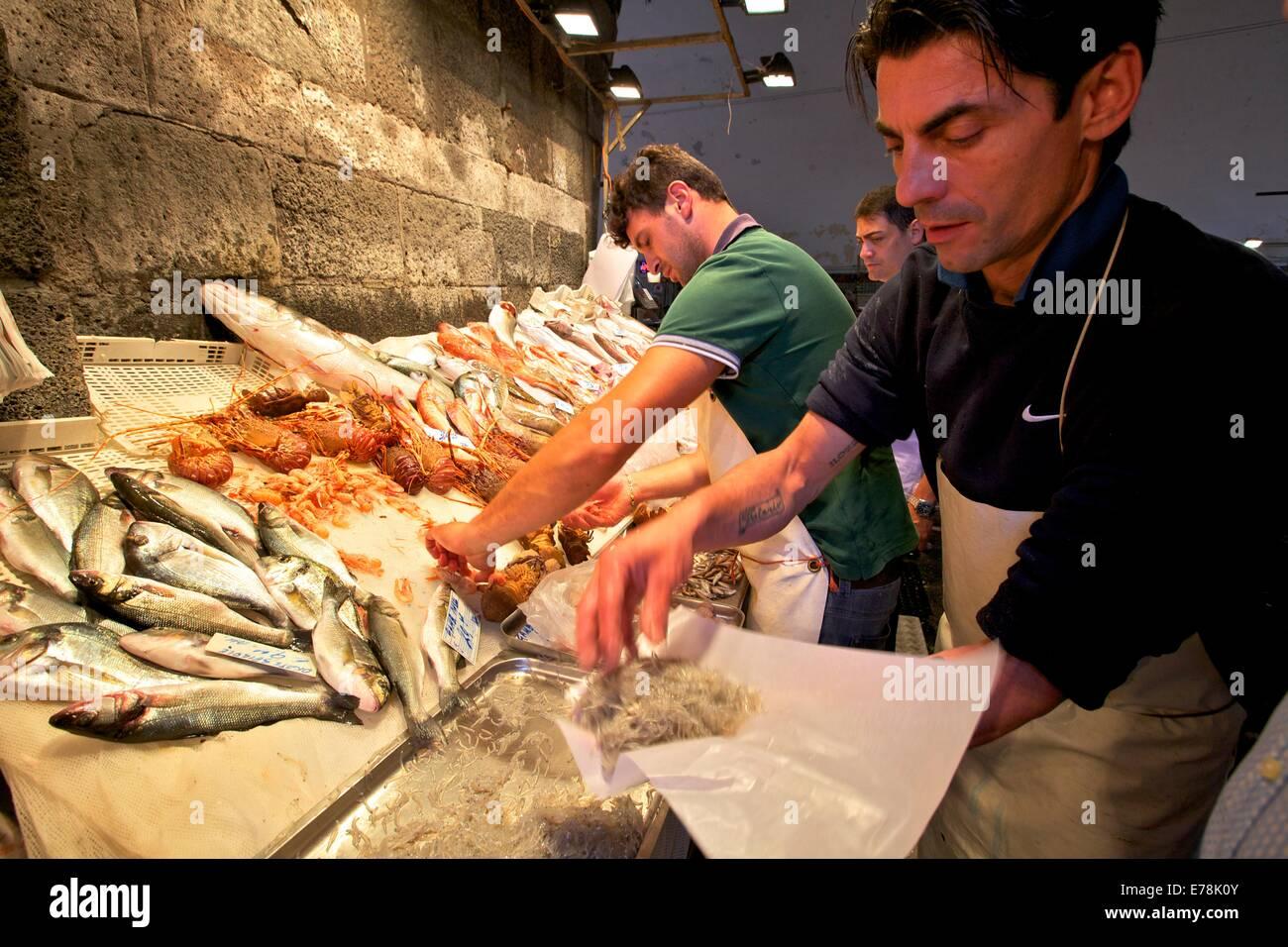 Fisch Markt, Catania, Sizilien, Italien, Südeuropa Stockbild