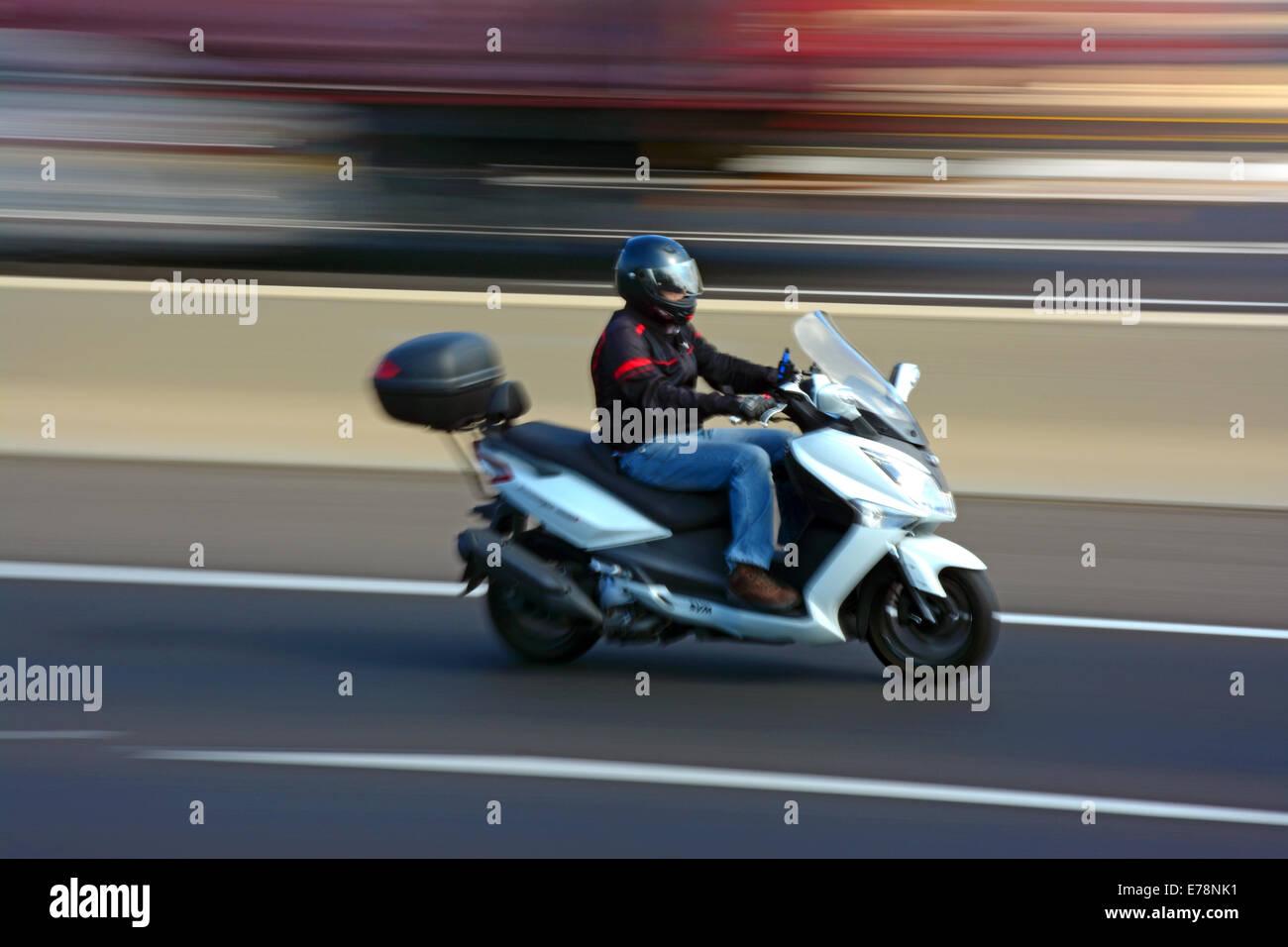 Motorrad, Bewegungsunschärfe Stockbild