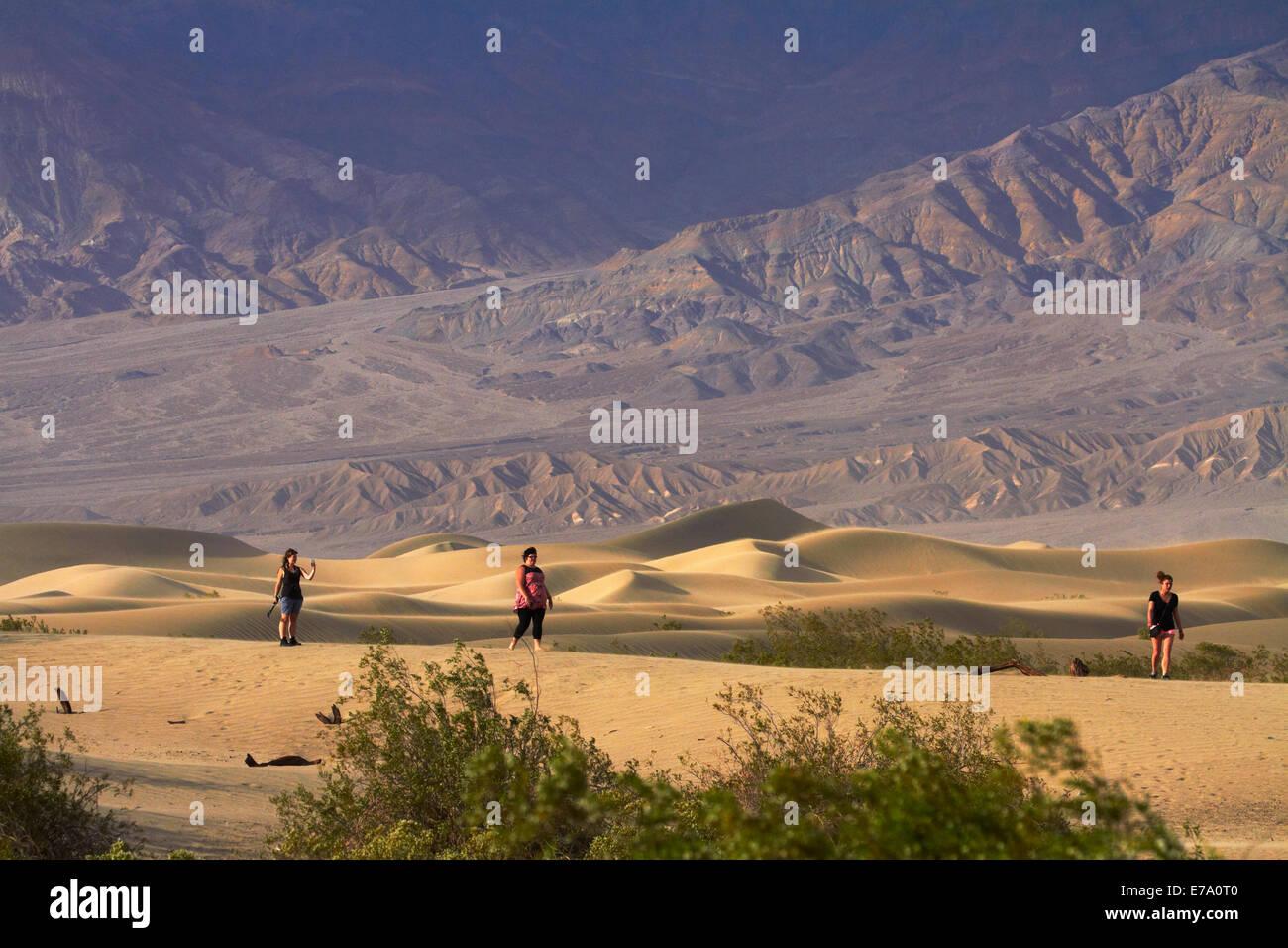 Touristen auf flachen Dünen Mesquite und Grapevine Bergen, nahe Stovepipe Wells, Death Valley Nationalpark, Mojave Stockfoto