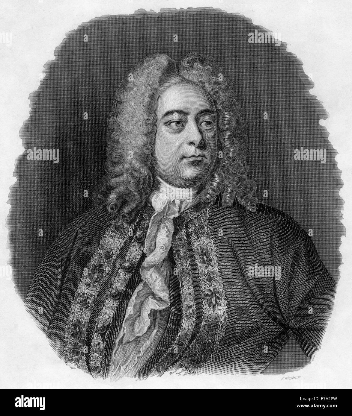 Georg Friedrich Händel (1685-1759), Barockkomponist, Porträt, Gravur, 1856 Stockbild