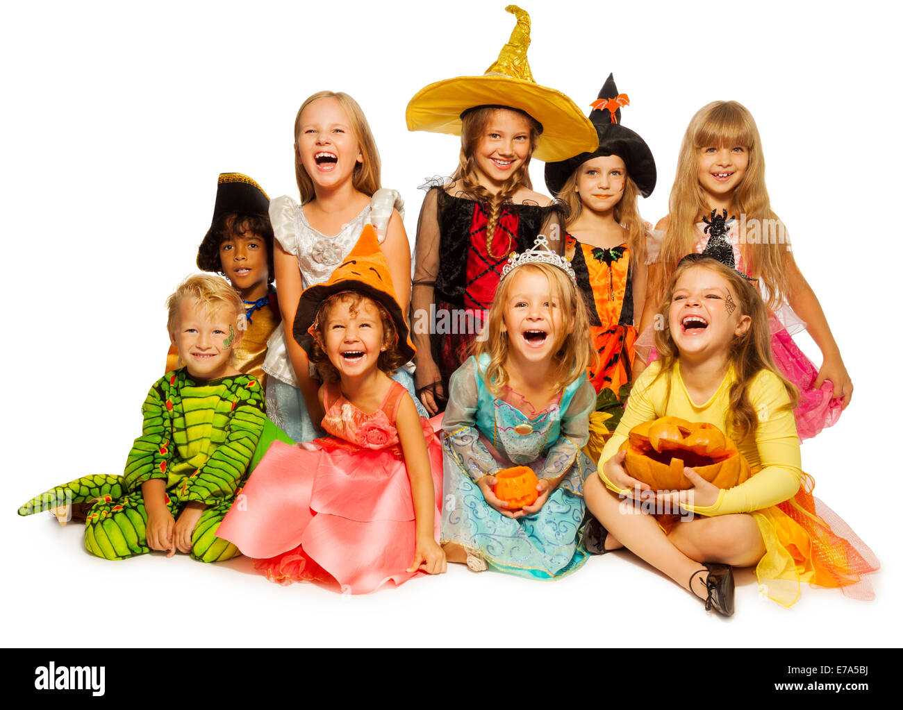 Grosse Gruppe Von Kinder In Halloween Kostumen Stockfoto Bild