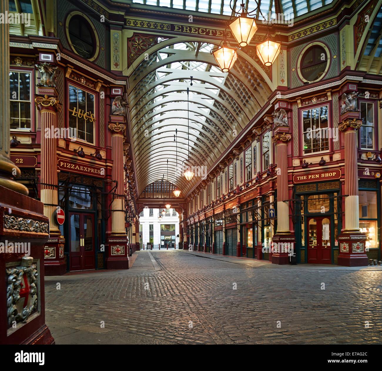 Leadenhall Market, London, England, Vereinigtes Königreich Stockbild