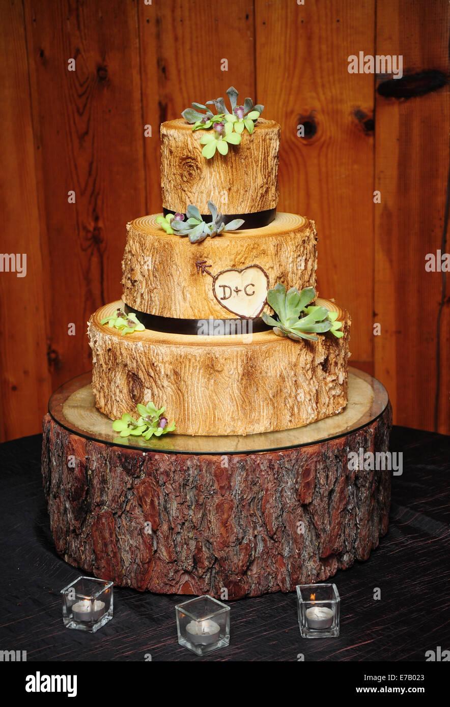 Eine Hochzeitstorte Aus Einem Alten Baum Wie Holz Aussehen Soll
