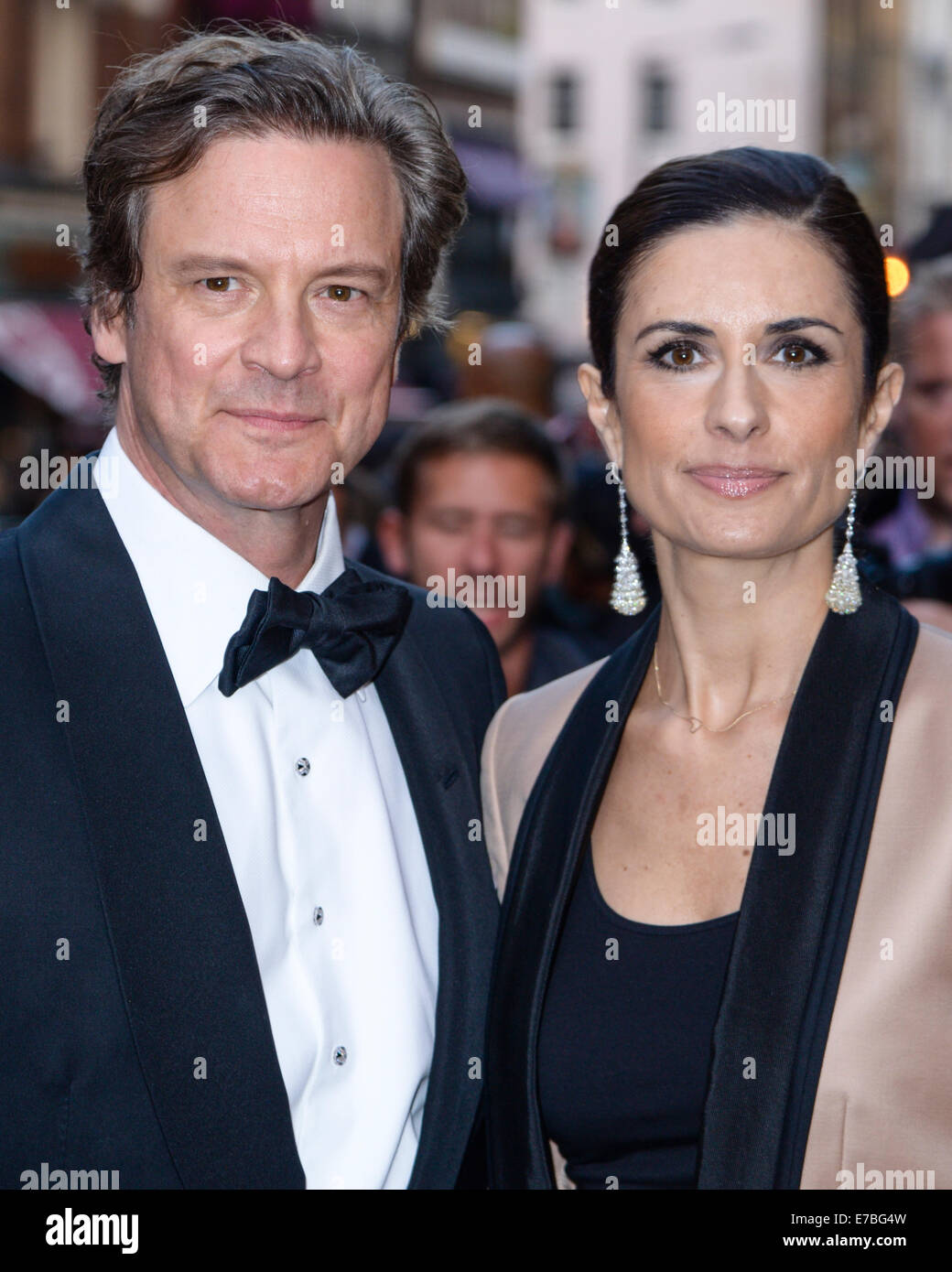 Colin Firth und Livia Firth kommt bei der GQ Men of the Year Award im 09.02.2014 am Royal Opera House, London. Personen Stockbild
