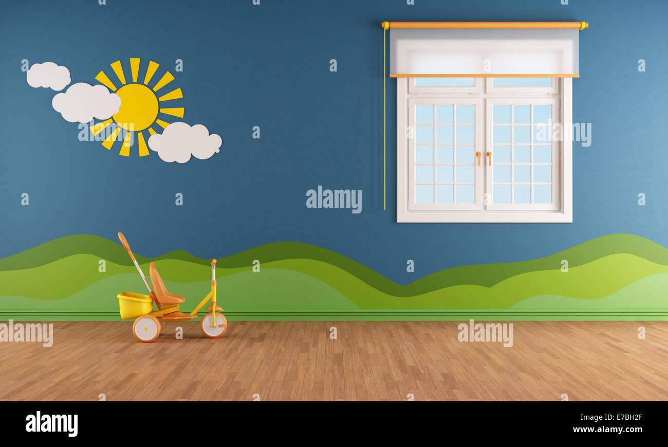 Blau Kinderzimmer Mit Fenster Und Dekoration Auf Wand Rendering