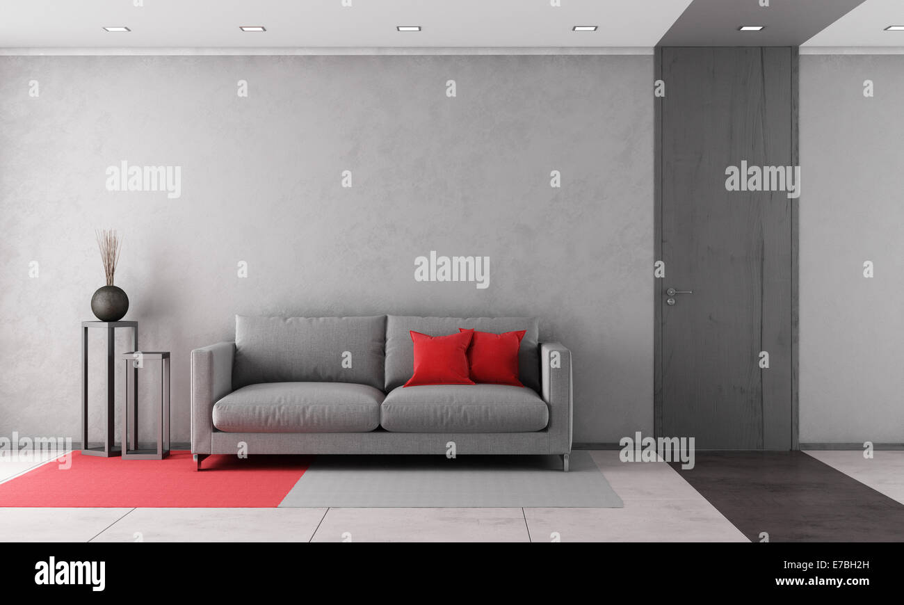 Zeitgenössische Wohnzimmer mit grauen Sofa und geschlossener Tür ...