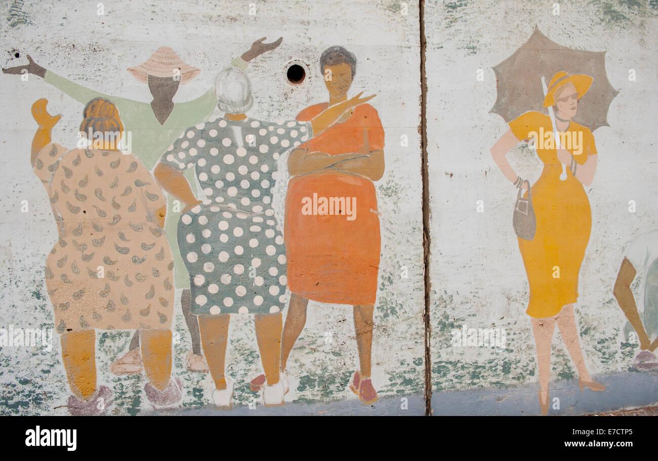 Wandbild auf den Straßen von New Orleans mit Afro-Amerikaner feiern Stockbild