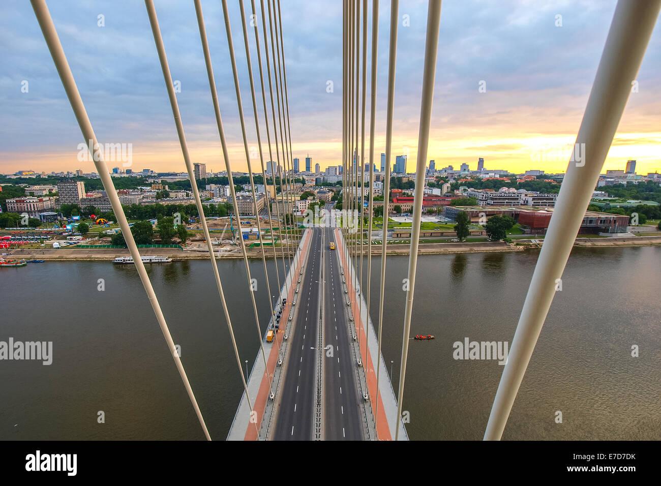 Fusse Brücke über die Weichsel in Warschau Hauptstadt Polens Stockfoto