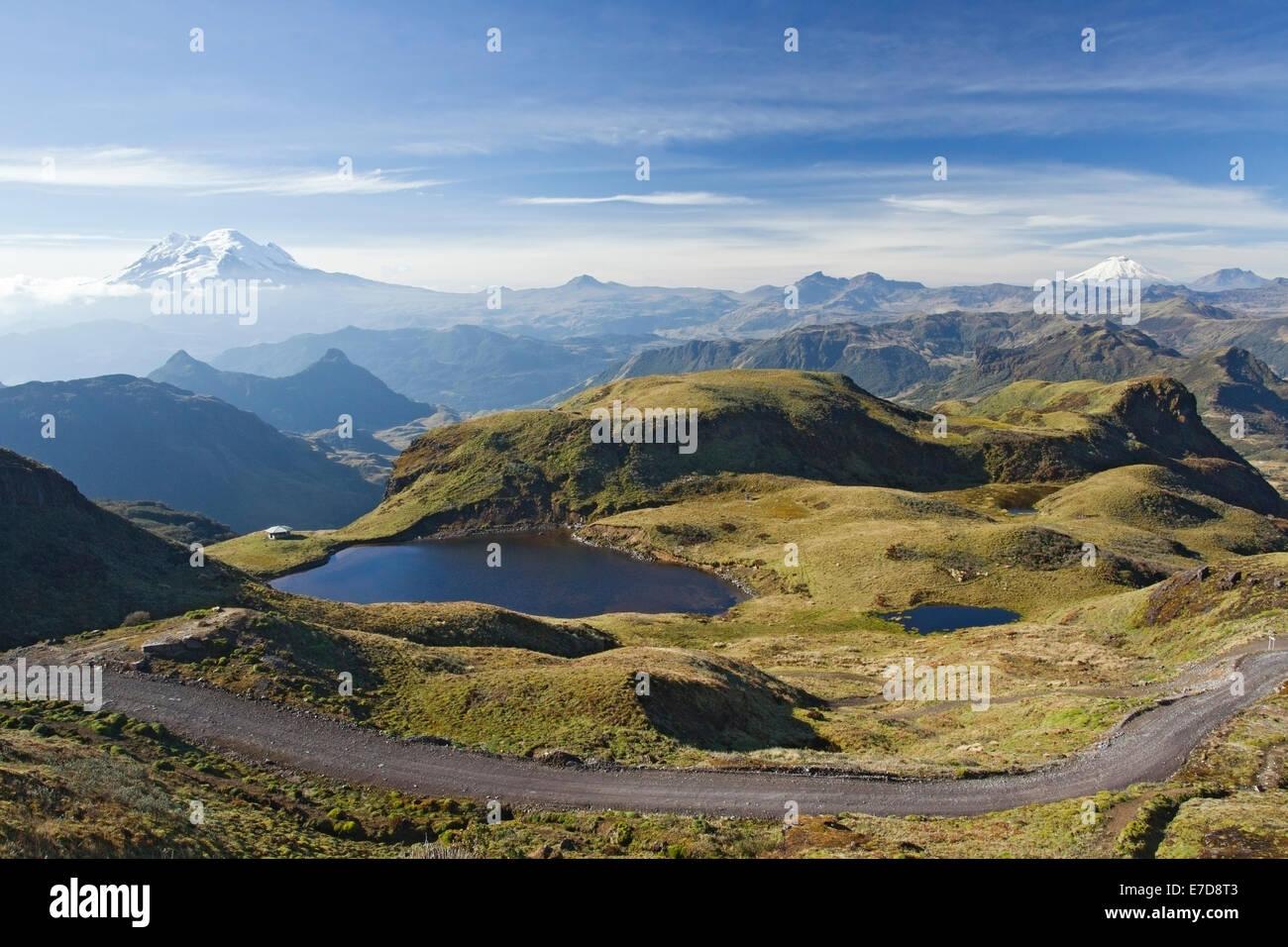Papallacta Pass, Blick vom Gipfel in Richtung Antisana und Cotopaxi Vulkane, Anden, Ecuador, Südamerika Stockbild