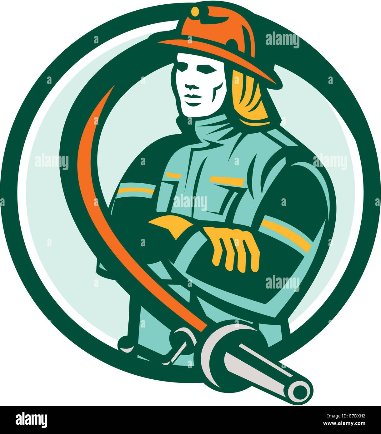 Abbildung eines Feuerwehrmann Feuerwehrmann Notfall Arbeitnehmers Gelenkarme mit Feuerwehrschlauch auf isolierte Stockbild