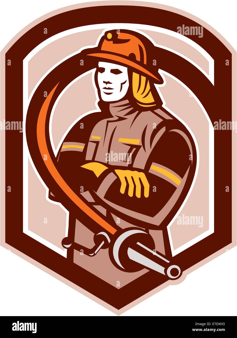 Abbildung eines Feuerwehrmann Feuerwehrmann Notfall Arbeitnehmers Gelenkarme mit Feuer Schlauchset innen Schild Stockbild