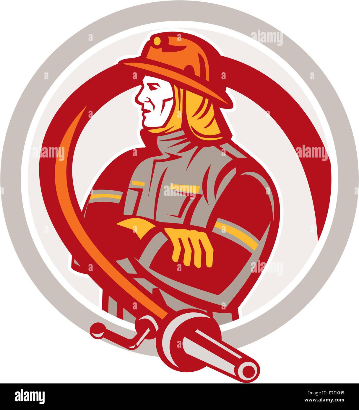 Beispiel für ein Feuerwehrmann Feuerwehrmann Notfall Arbeiter stehend Gelenkarme mit Feuerwehrschlauch gesehen Stockbild