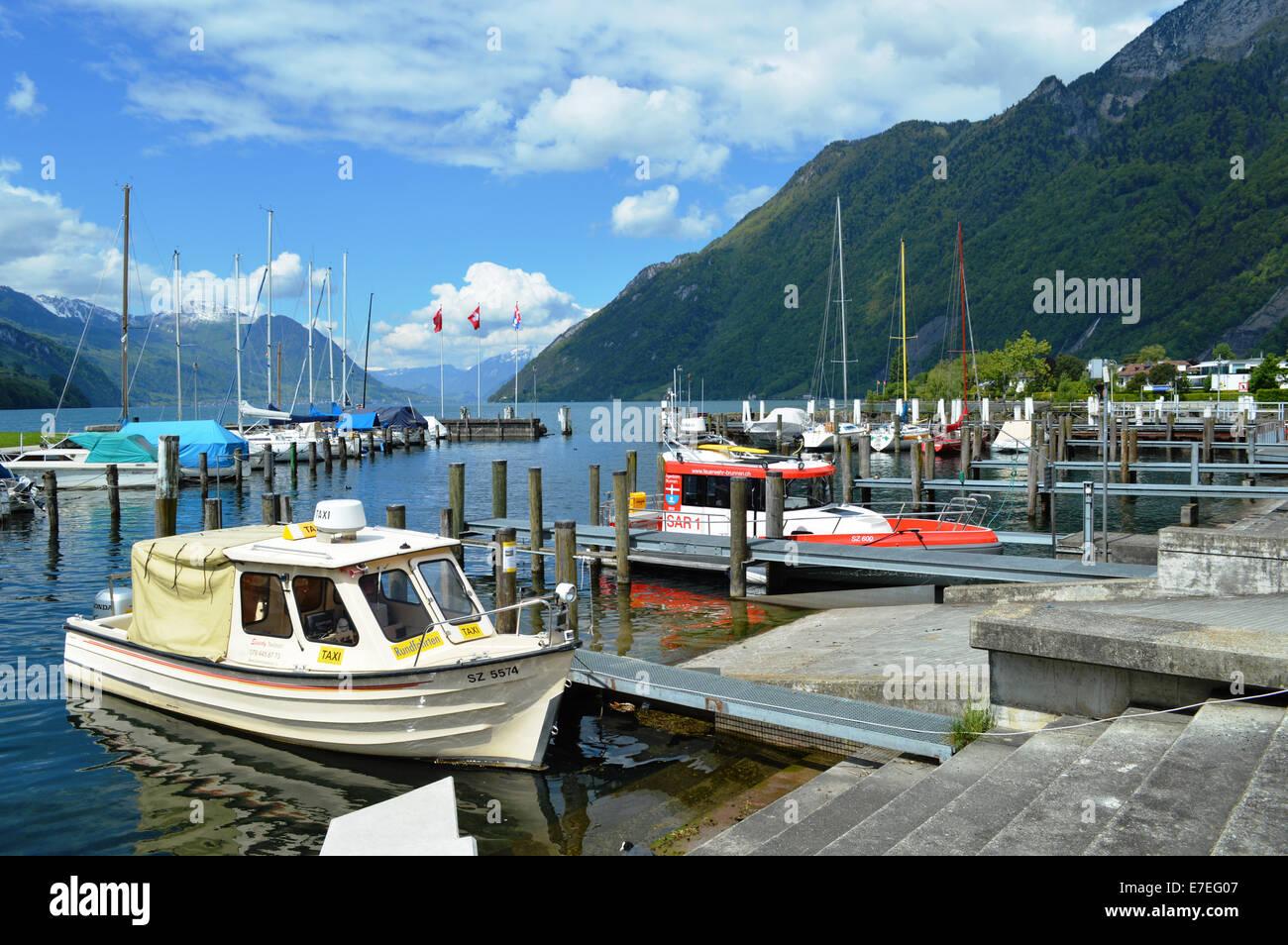 Brunnen, Schweiz, Waterfront, Vierwaldstattersee Stockbild