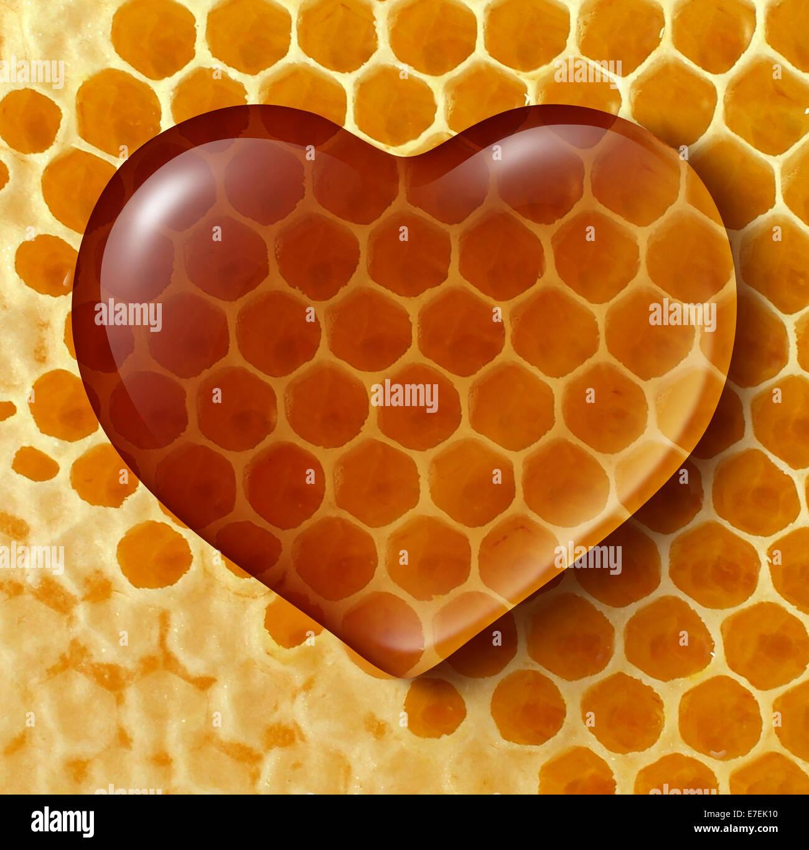 Gesundes Essen Liebe Konzept wie flüssiger Honig als ein Herz auf Waben oder Honig Kamm Hintergrund erstellt Stockbild