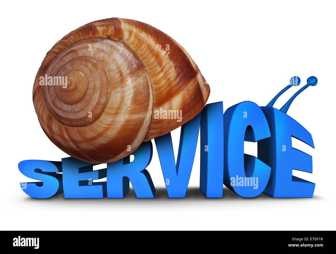 Service-Problem-Konzept als drei dimensionalen Text geformt wie eine Schnecke mit einer Muschel als Symbol für Stockbild