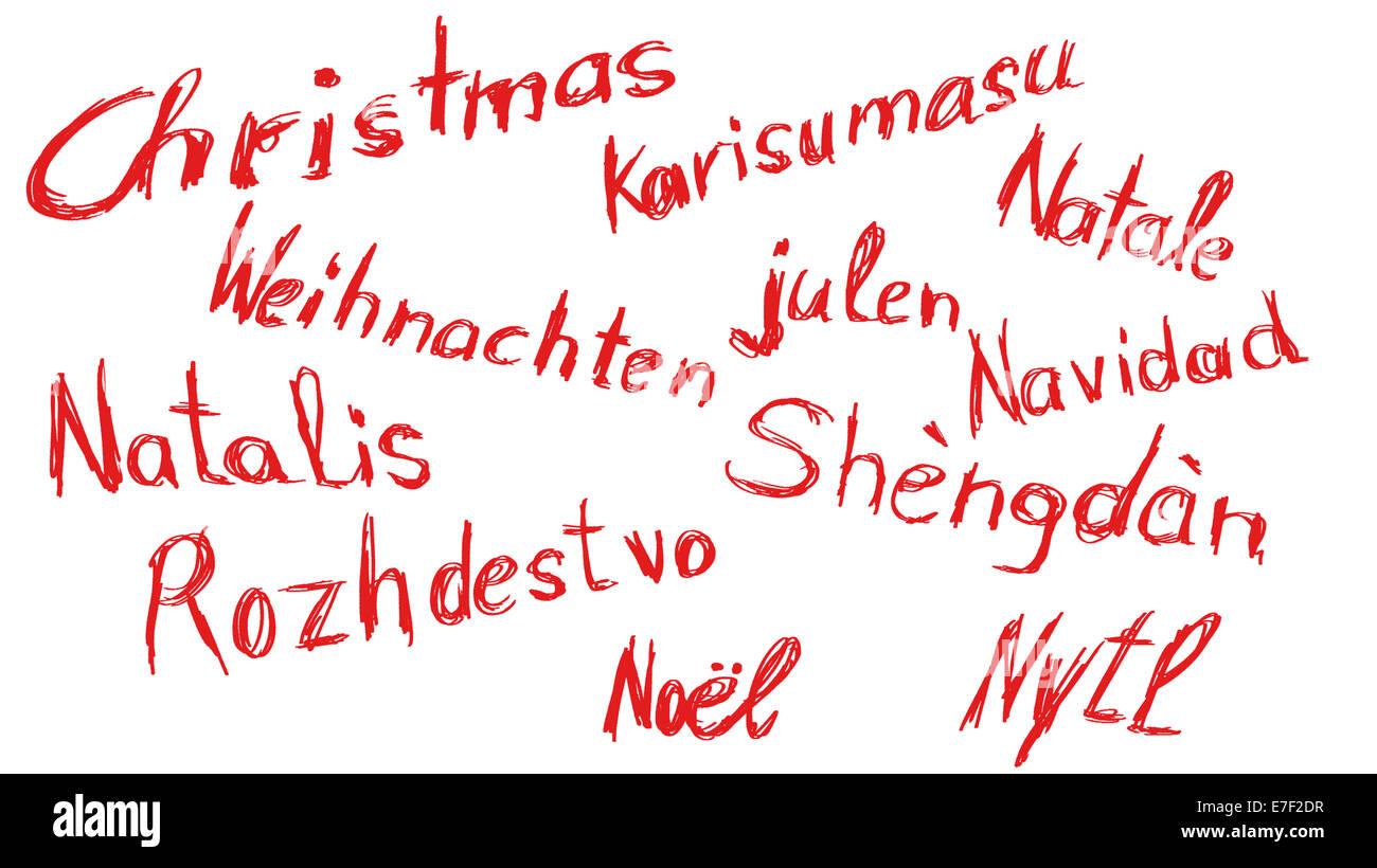 Das Wort Weihnachten, kritzelte in verschiedenen Sprachen auf weißem ...