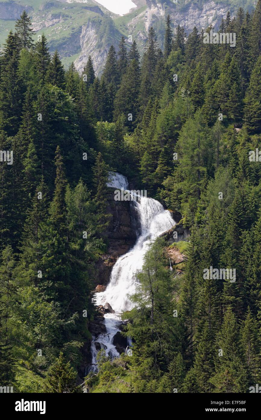 Stüberfall Wasserfall, Nenzinger Himmel, Gamperdonatal Tal, Gemeinde Nenzing, Rätikon, Vorarlberg, Österreich Stockbild