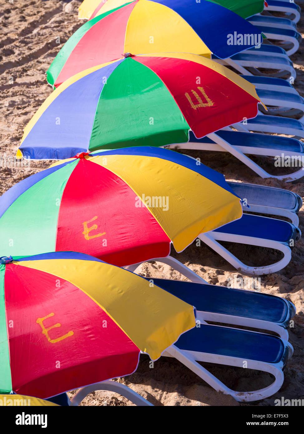 Bunte Sonnenschirme Am Strand Von Rodney Bay St Lucia