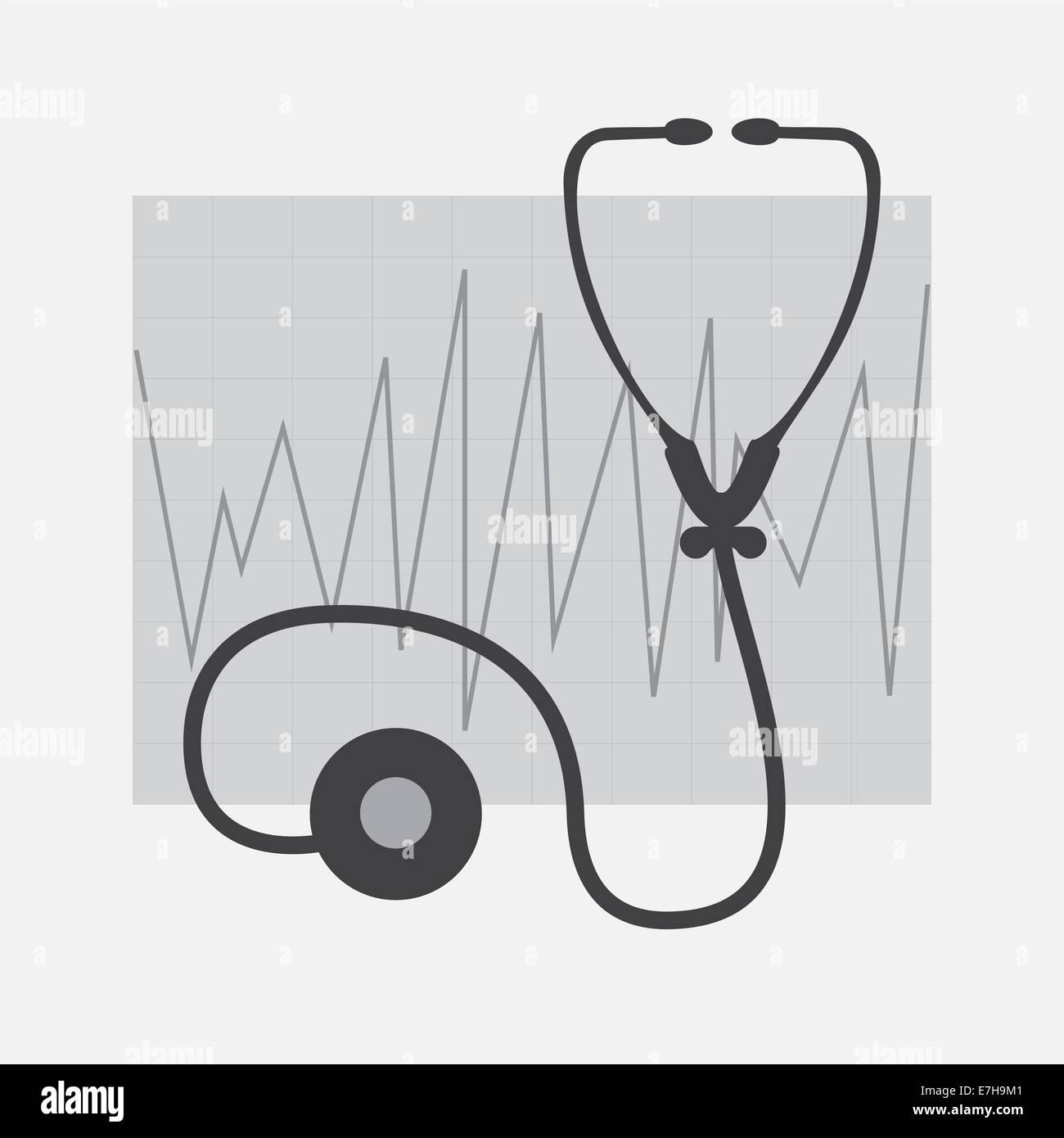 Graustufen-EKG und Stethoskop isoliert in weiß Stockbild